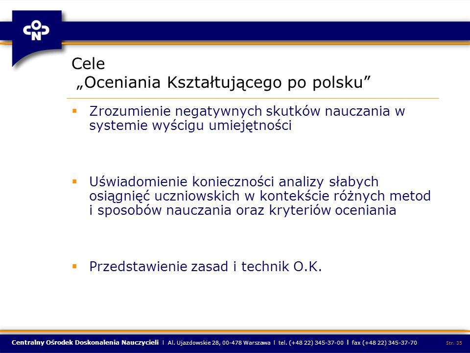 """Cele """"Oceniania Kształtującego po polsku"""