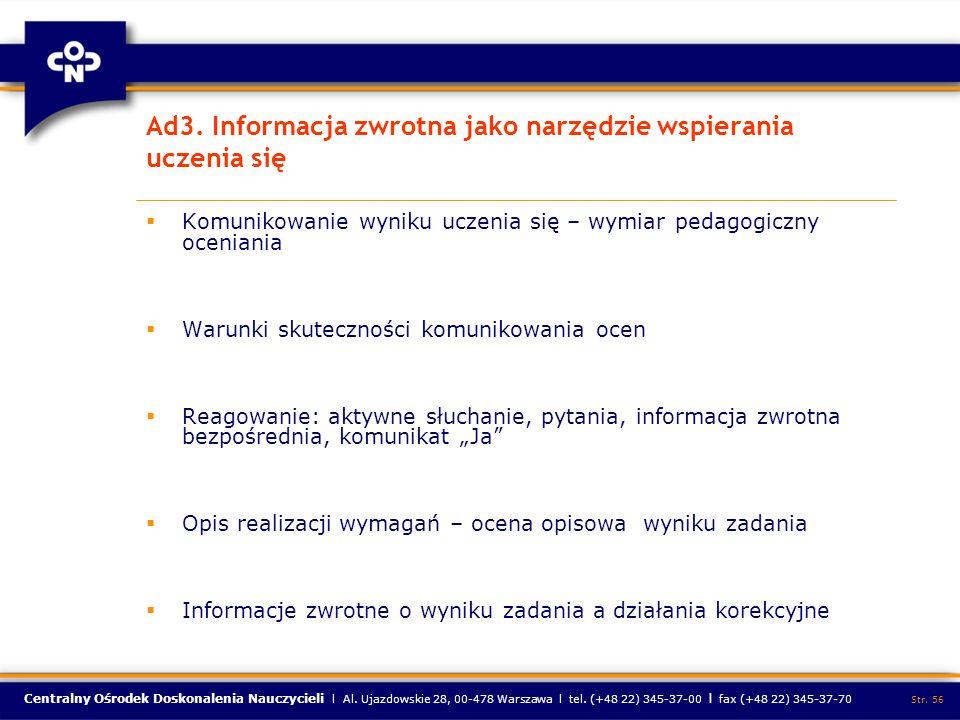 Ad3. Informacja zwrotna jako narzędzie wspierania uczenia się
