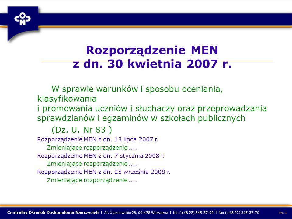 Rozporządzenie MEN z dn. 30 kwietnia 2007 r.