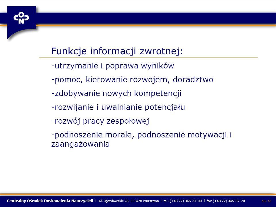 Funkcje informacji zwrotnej: