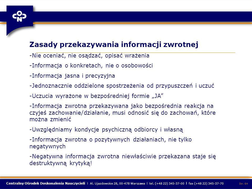 Zasady przekazywania informacji zwrotnej