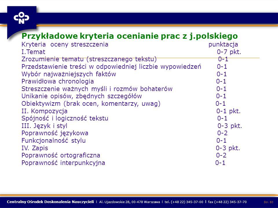 Przykładowe kryteria ocenianie prac z j.polskiego