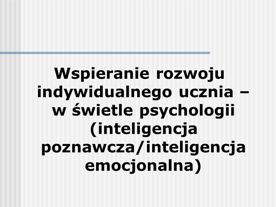 Wspieranie rozwoju indywidualnego ucznia – w świetle psychologii (inteligencja poznawcza/inteligencja emocjonalna)