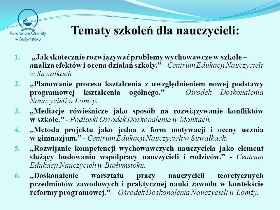 Tematy szkoleń dla nauczycieli: