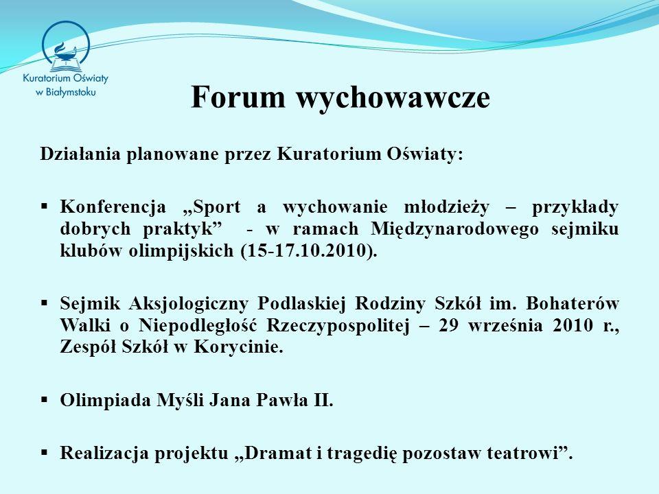 Forum wychowawcze Działania planowane przez Kuratorium Oświaty: