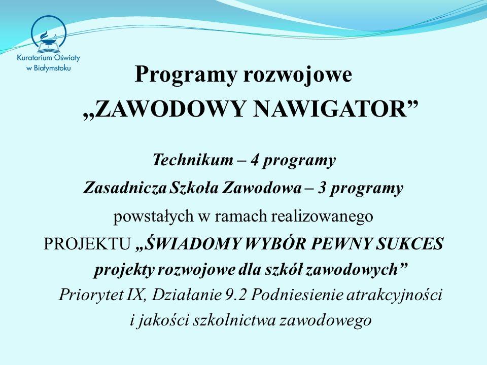 Programy rozwojowe ,,ZAWODOWY NAWIGATOR