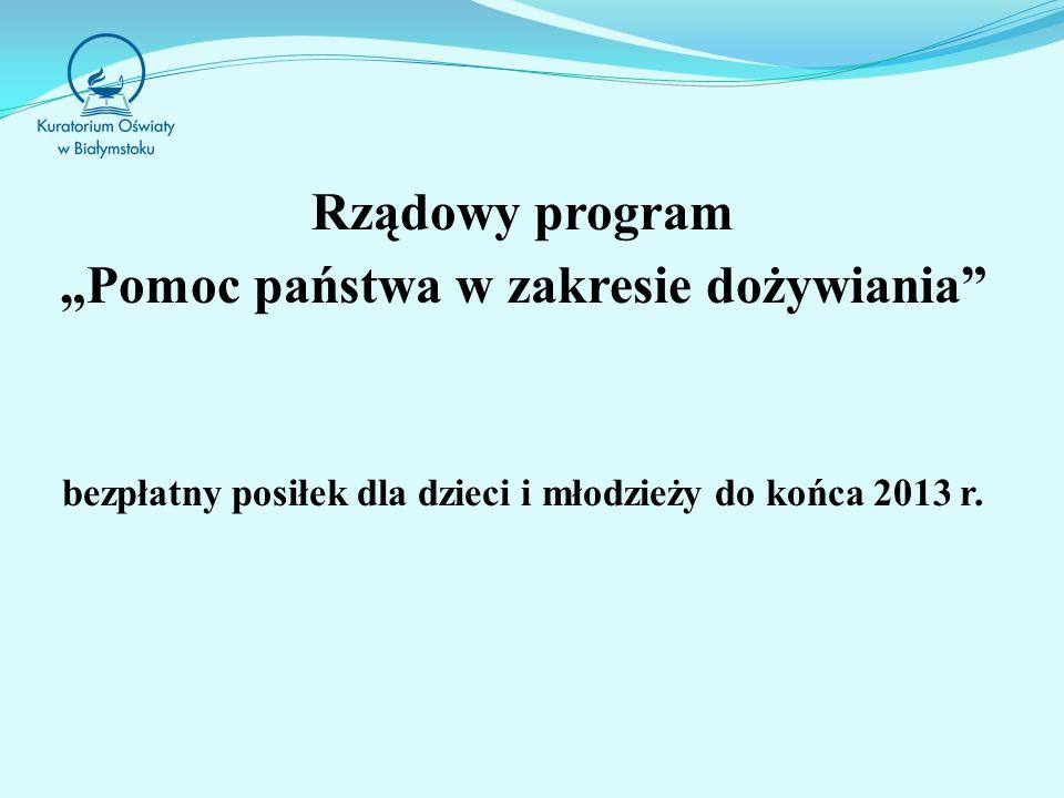 """Rządowy program """"Pomoc państwa w zakresie dożywiania"""