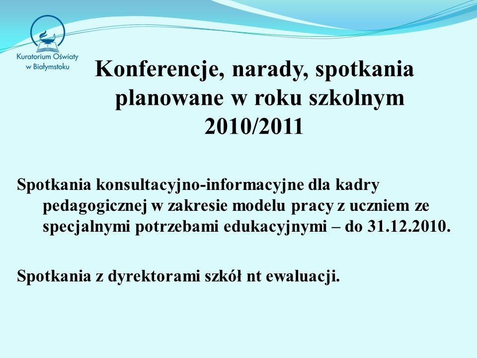 Konferencje, narady, spotkania planowane w roku szkolnym 2010/2011