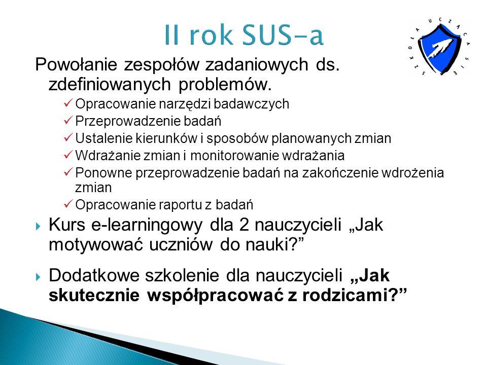 II rok SUS-a Powołanie zespołów zadaniowych ds. zdefiniowanych problemów. Opracowanie narzędzi badawczych.