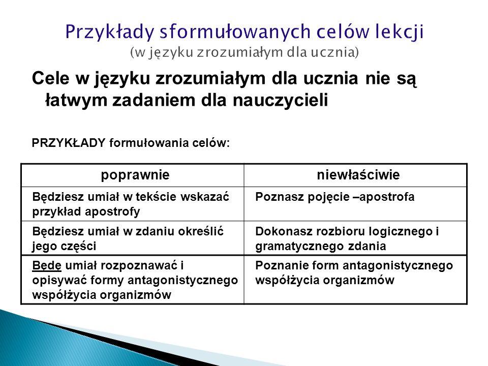 Przykłady sformułowanych celów lekcji (w języku zrozumiałym dla ucznia)