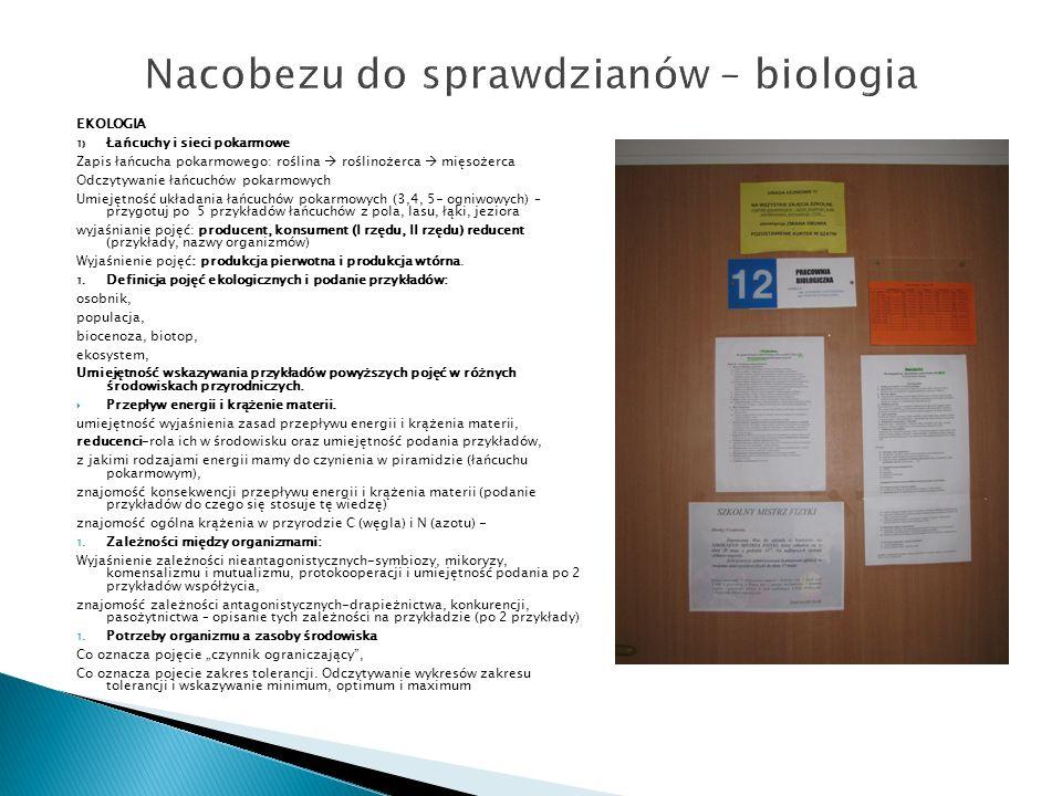 Nacobezu do sprawdzianów – biologia