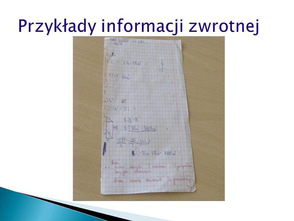 Przykłady informacji zwrotnej