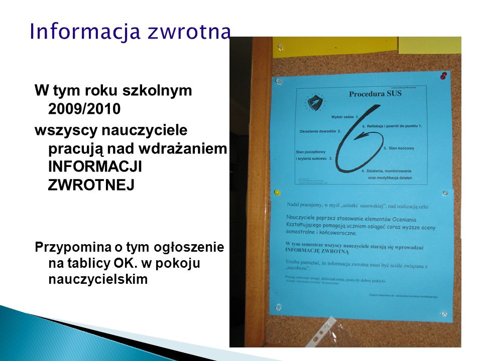 Informacja zwrotna W tym roku szkolnym 2009/2010
