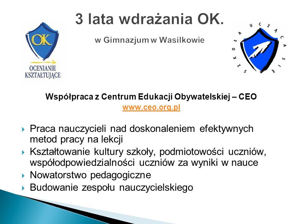 3 lata wdrażania OK. w Gimnazjum w Wasilkowie
