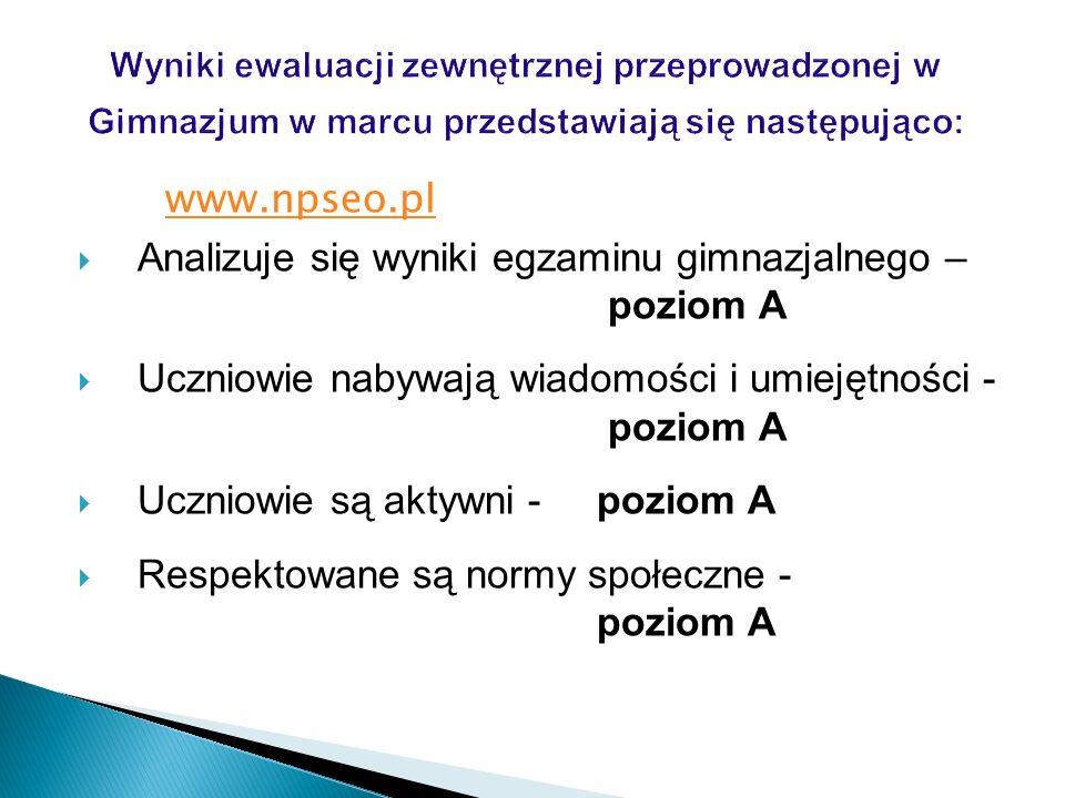 Analizuje się wyniki egzaminu gimnazjalnego – poziom A