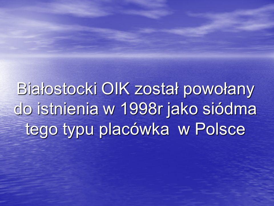 Białostocki OIK został powołany do istnienia w 1998r jako siódma tego typu placówka w Polsce