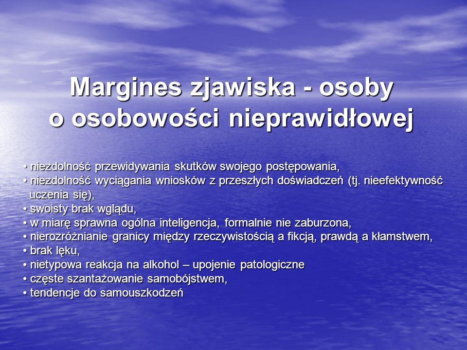 Margines zjawiska - osoby o osobowości nieprawidłowej