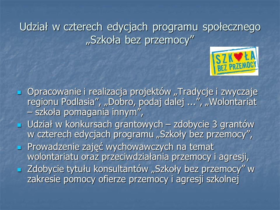 """Udział w czterech edycjach programu społecznego """"Szkoła bez przemocy"""