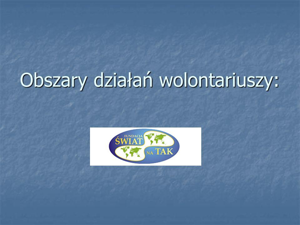 Obszary działań wolontariuszy: