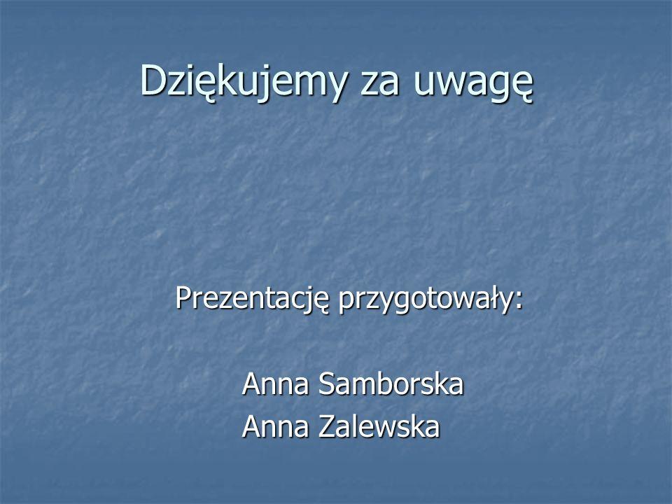 Dziękujemy za uwagę Prezentację przygotowały: Anna Samborska