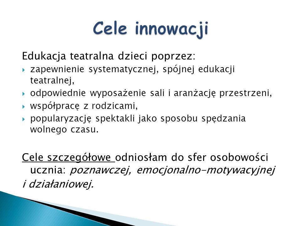 Cele innowacji Edukacja teatralna dzieci poprzez: