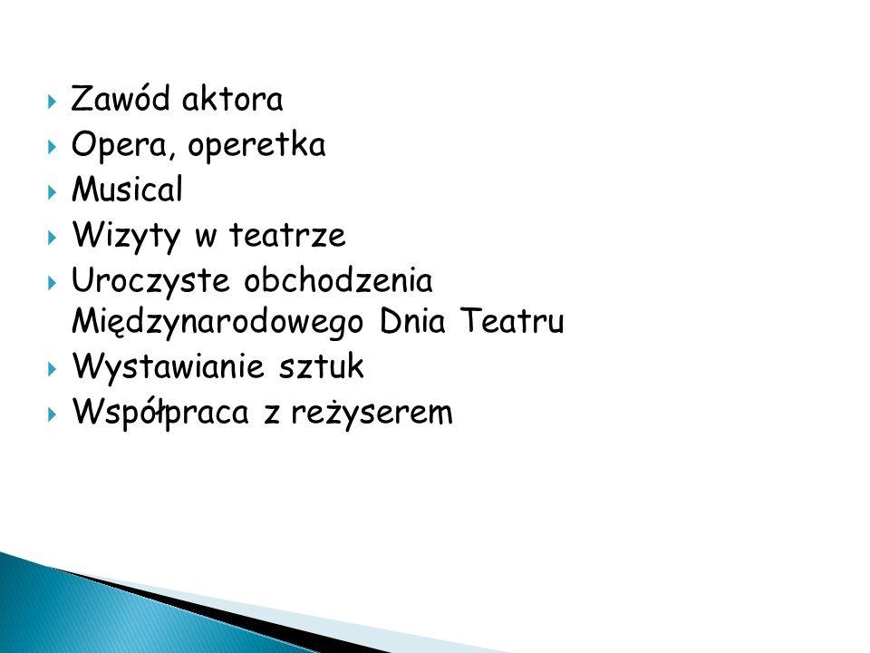 Zawód aktora Opera, operetka. Musical. Wizyty w teatrze. Uroczyste obchodzenia Międzynarodowego Dnia Teatru.