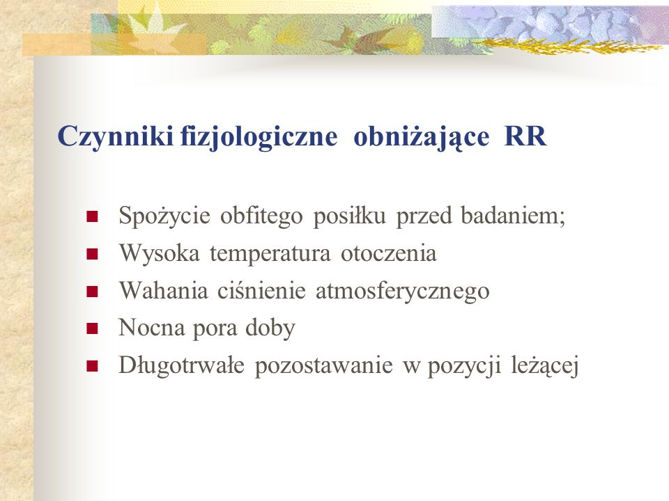 Czynniki fizjologiczne obniżające RR
