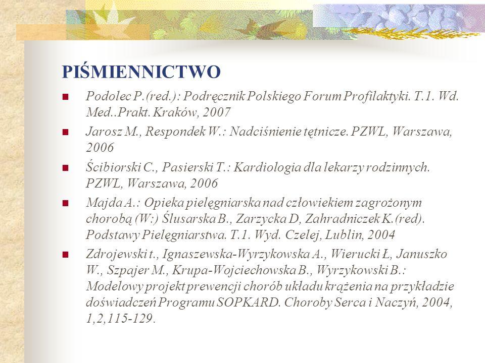 PIŚMIENNICTWO Podolec P.(red.): Podręcznik Polskiego Forum Profilaktyki. T.1. Wd. Med..Prakt. Kraków, 2007.