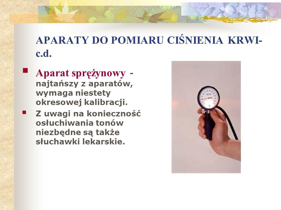 APARATY DO POMIARU CIŚNIENIA KRWI-c.d.