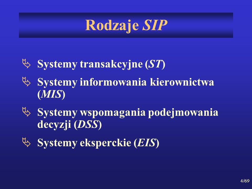 Rodzaje SIP Systemy transakcyjne (ST)