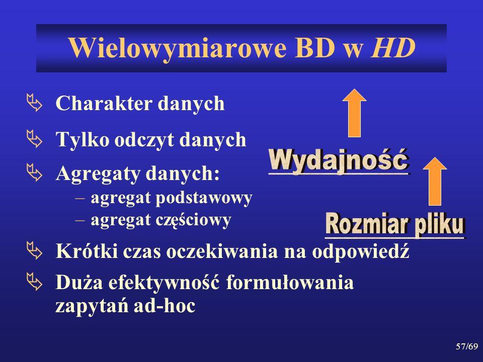 Wielowymiarowe BD w HD Charakter danych Tylko odczyt danych