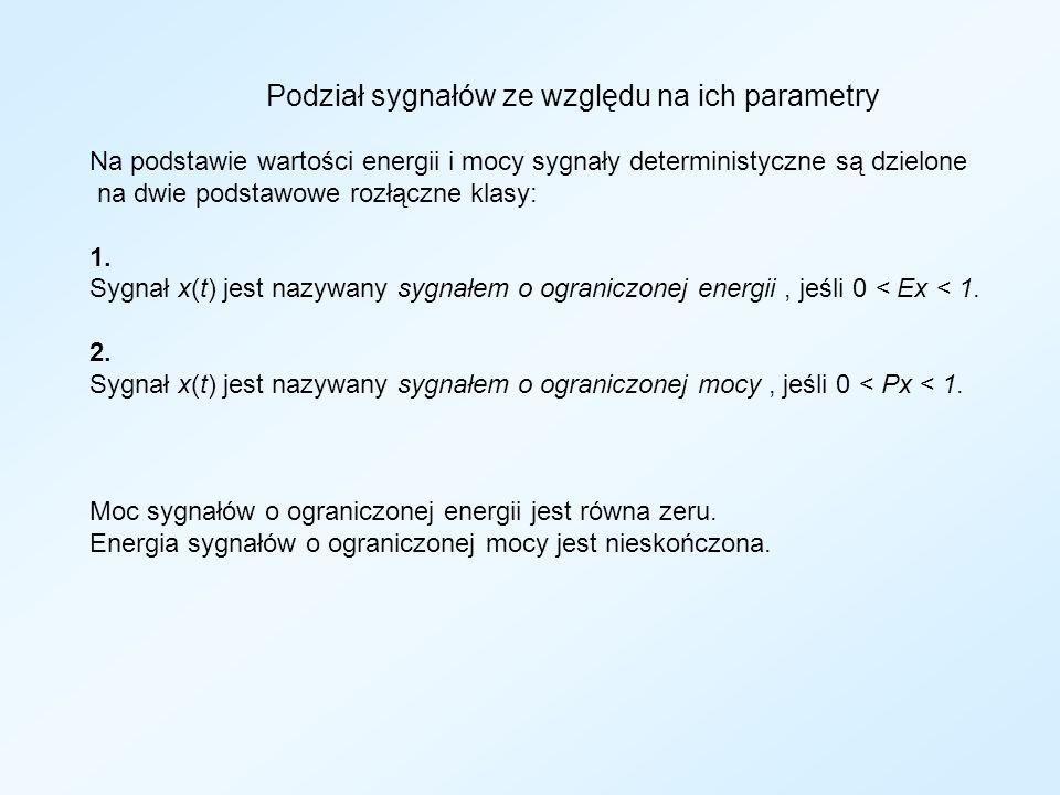Podział sygnałów ze względu na ich parametry