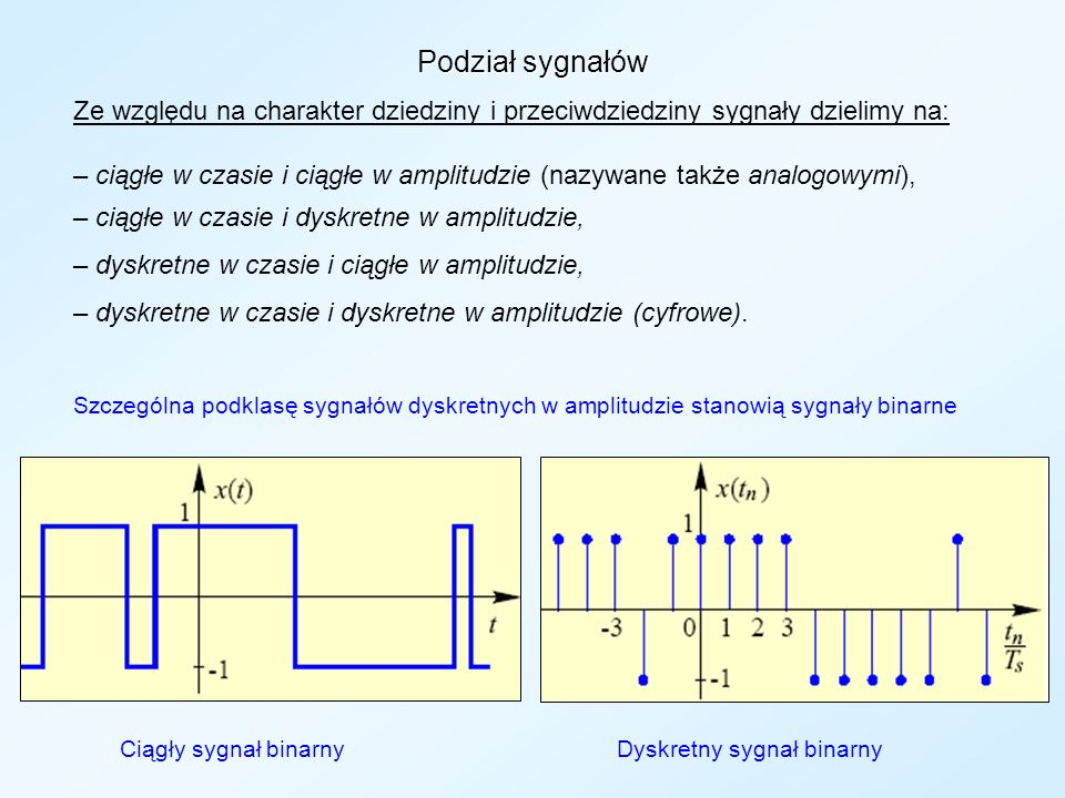 Podział sygnałów Ze względu na charakter dziedziny i przeciwdziedziny sygnały dzielimy na: