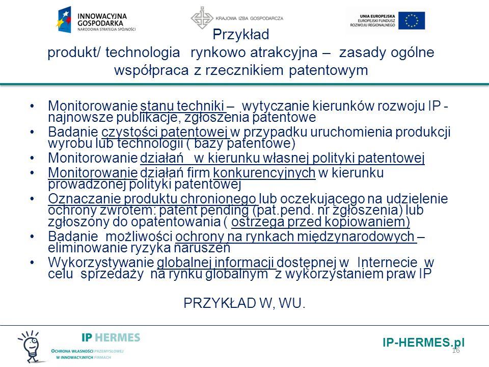 Przykład produkt/ technologia rynkowo atrakcyjna – zasady ogólne współpraca z rzecznikiem patentowym