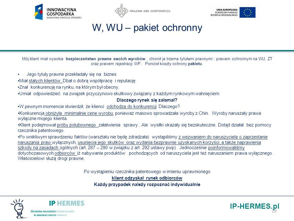 W, WU – pakiet ochronny Jego tytuły prawne przekładały się na biznes