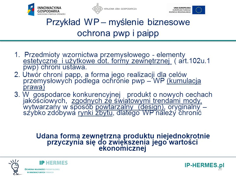 Przykład WP – myślenie biznesowe ochrona pwp i paipp