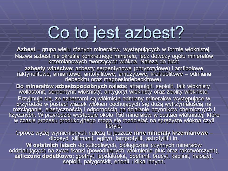 Co to jest azbest Azbest – grupa wielu różnych minerałów, występujących w formie włóknistej.