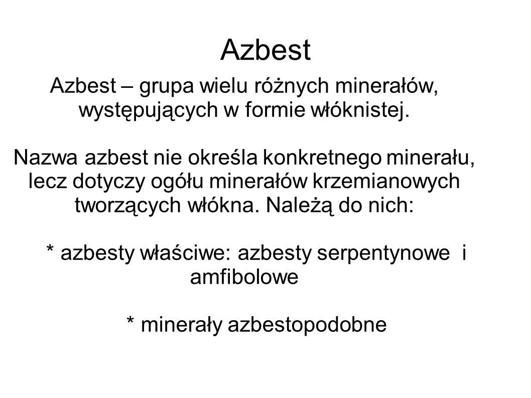 Azbest Azbest – grupa wielu różnych minerałów, występujących w formie włóknistej.