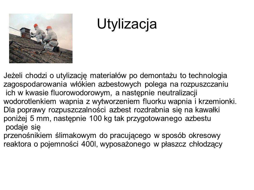 UtylizacjaJeżeli chodzi o utylizację materiałów po demontażu to technologia zagospodarowania włókien azbestowych polega na rozpuszczaniu.