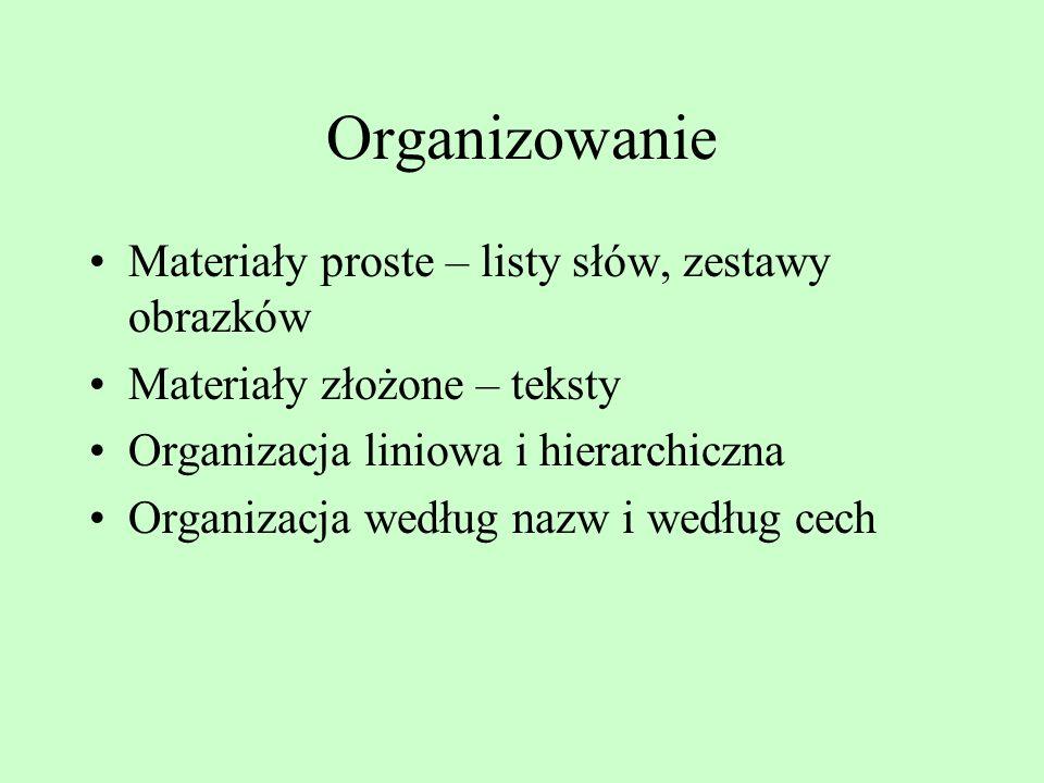 Organizowanie Materiały proste – listy słów, zestawy obrazków