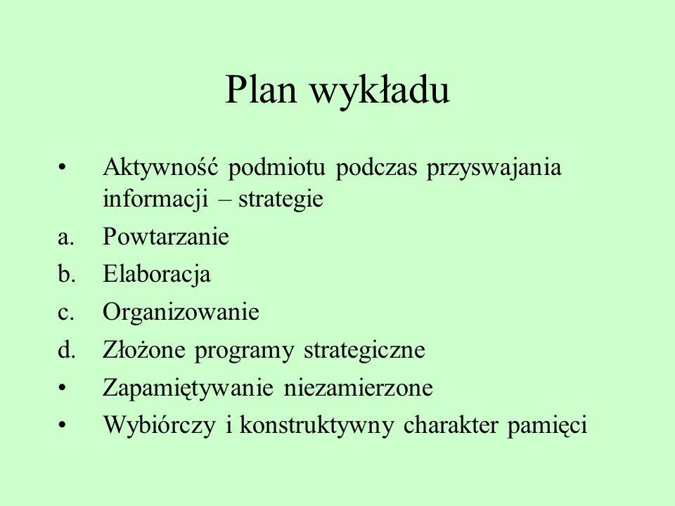 Plan wykładu Aktywność podmiotu podczas przyswajania informacji – strategie. Powtarzanie. Elaboracja.