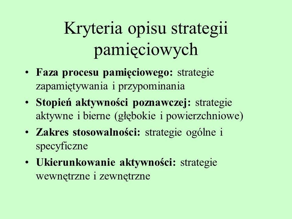 Kryteria opisu strategii pamięciowych