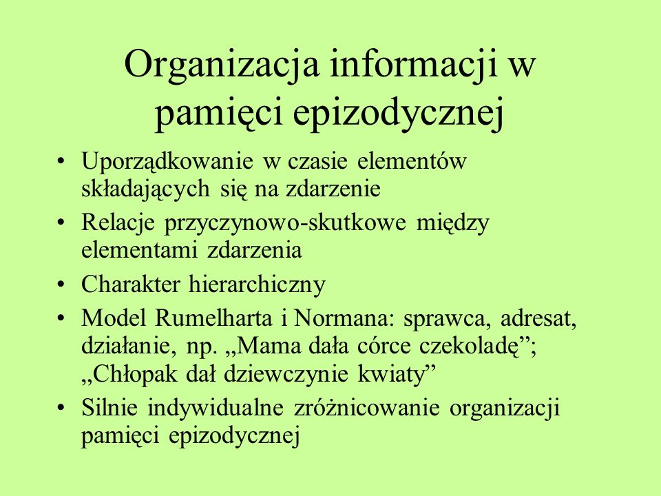 Organizacja informacji w pamięci epizodycznej