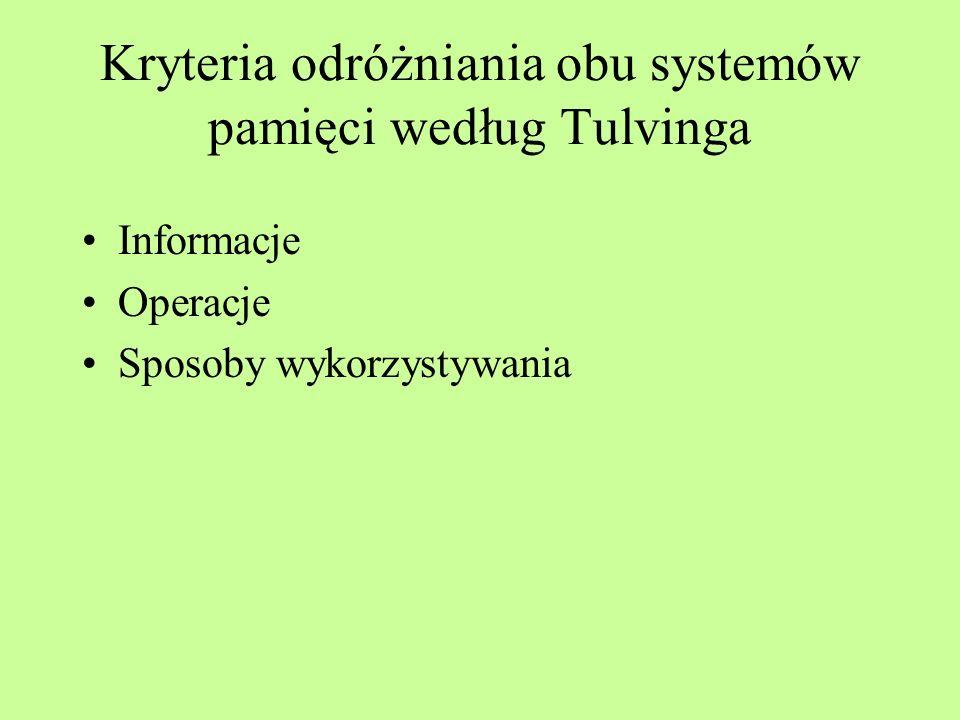 Kryteria odróżniania obu systemów pamięci według Tulvinga