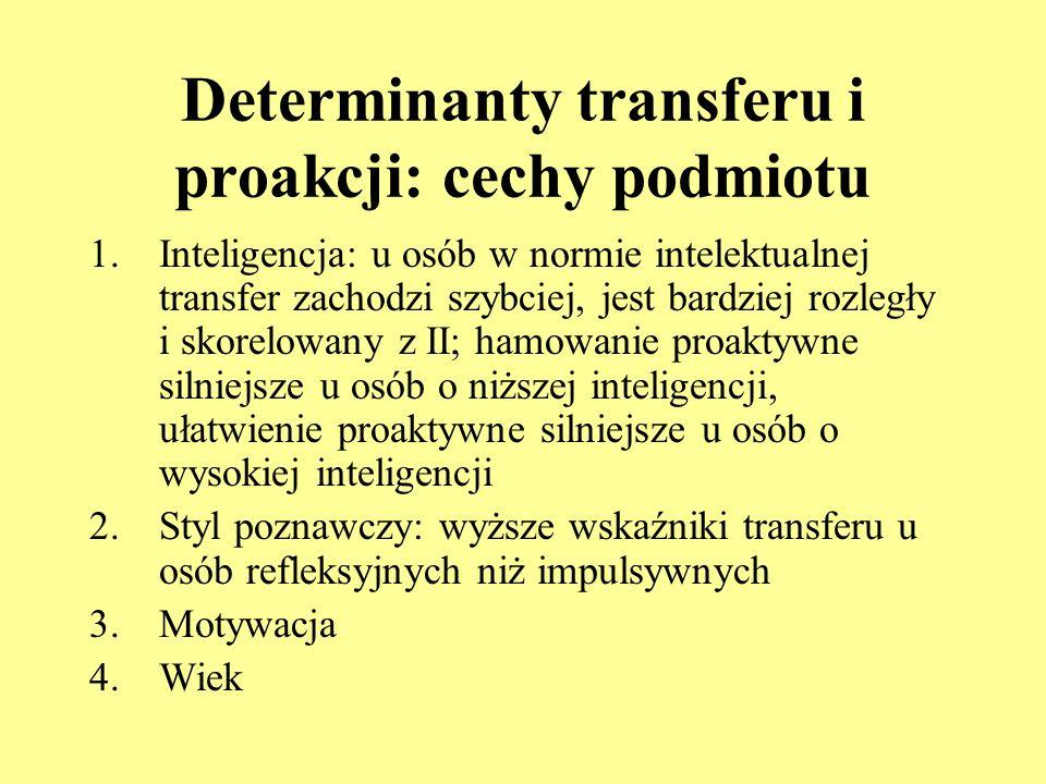 Determinanty transferu i proakcji: cechy podmiotu