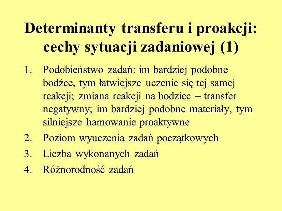 Determinanty transferu i proakcji: cechy sytuacji zadaniowej (1)