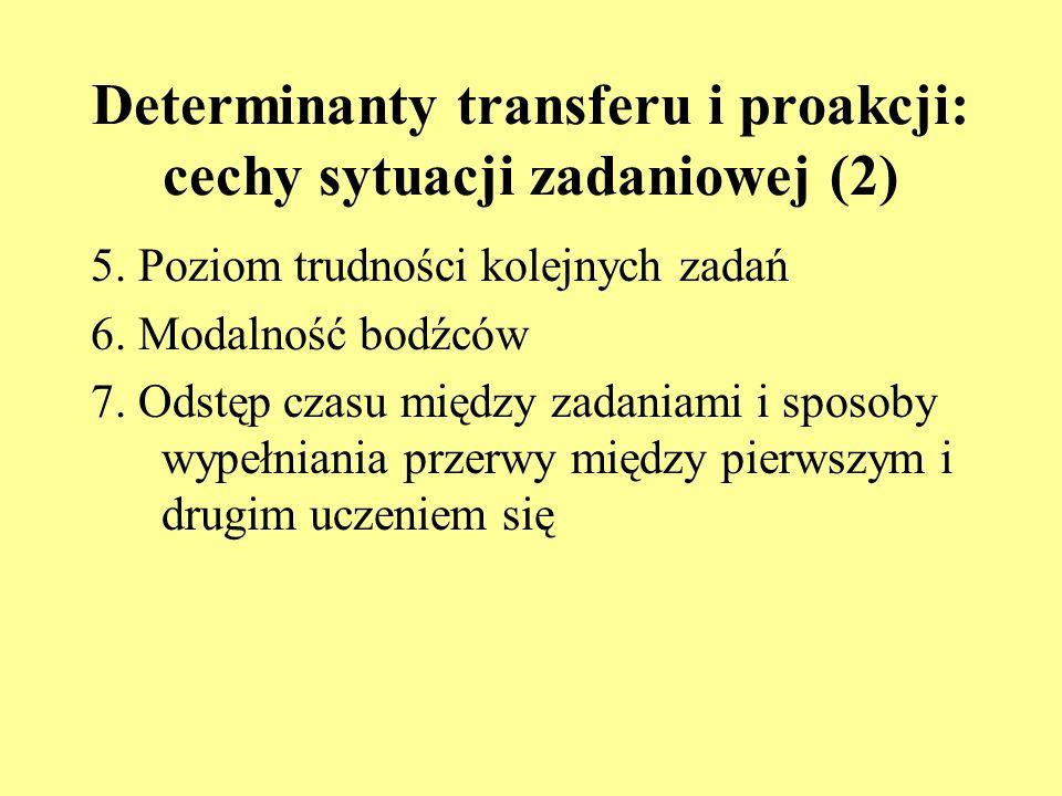 Determinanty transferu i proakcji: cechy sytuacji zadaniowej (2)