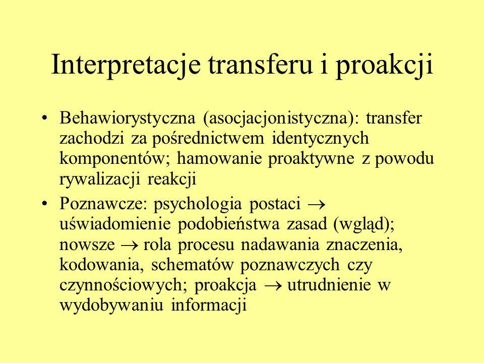 Interpretacje transferu i proakcji