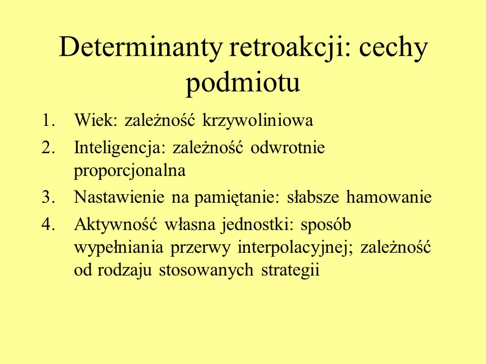 Determinanty retroakcji: cechy podmiotu