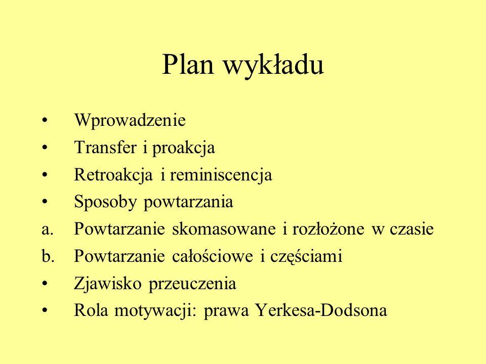 Plan wykładu Wprowadzenie Transfer i proakcja